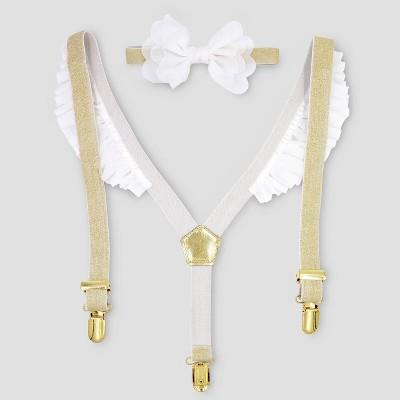 Baby Girls' Velvet Suspenders & Headwrap Set - Cat & Jack™ White/Gold One Size