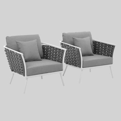 Stance 2pc Aluminum Patio Armchair White - Modway