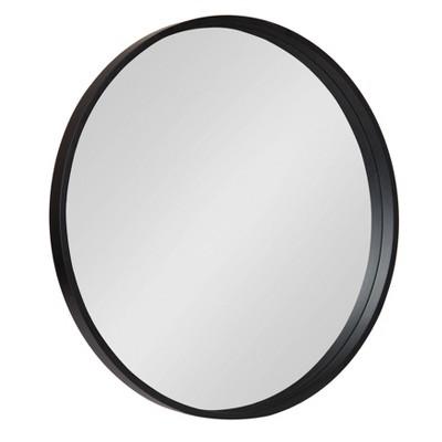 "26"" x 26"" Travis Round Wood Accent Wall Mirror Black - Kate and Laurel"