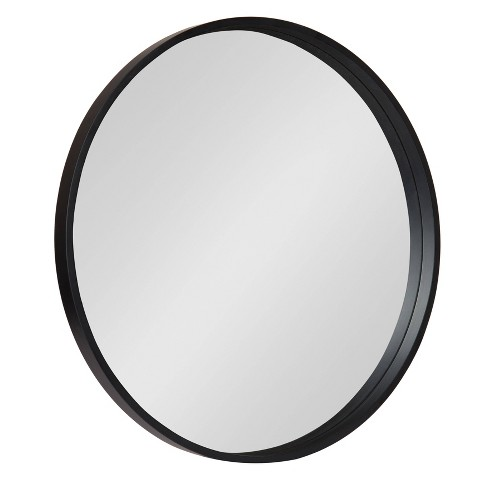 """25.6"""" Travis Round Wood Accent Wall Mirror Black - Kate and Laurel - image 1 of 4"""