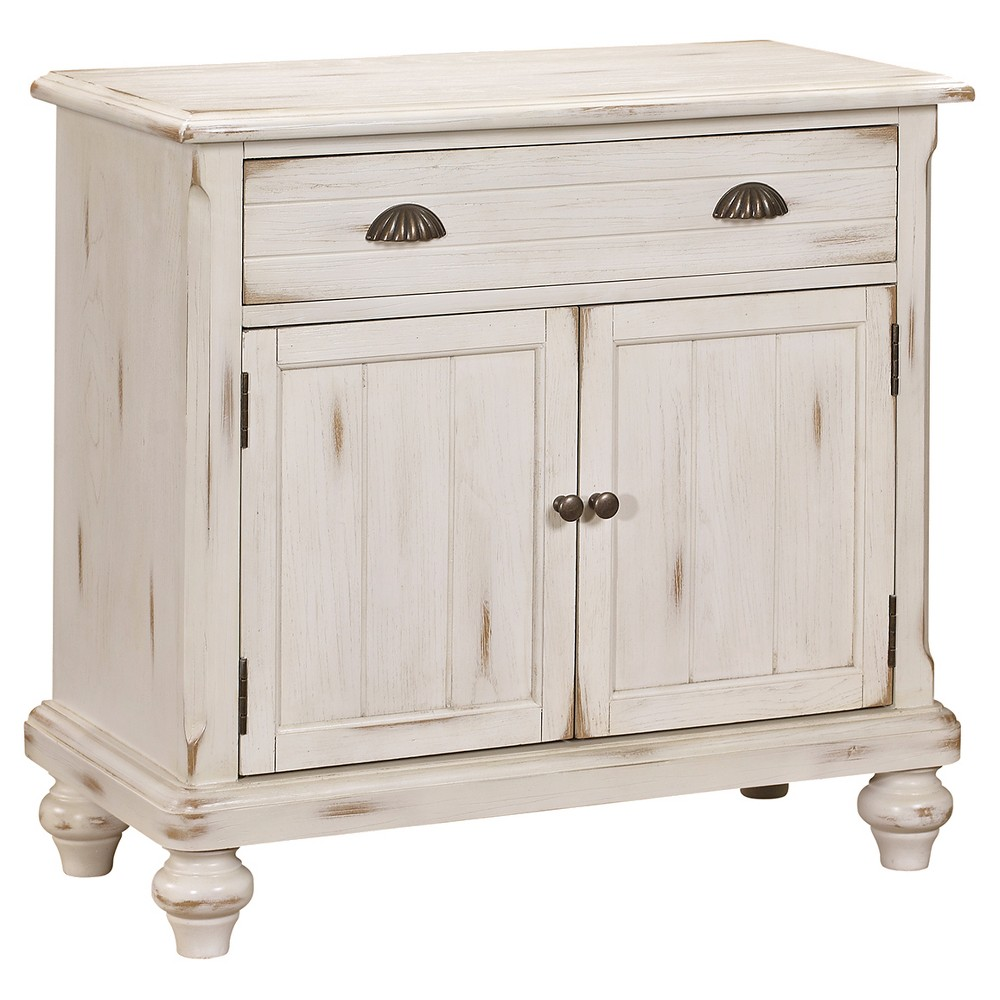 Glenwood Accent Storage Console with Two Doors And One Drawer White - Pulaski The Right 2 Home Glenwood Accent Storage Console with Two Doors and One Drawer in White is an excellent cabinet for extra storage. The accent table has a white washed, slightly distressed look for an antique, shabby chic look. The console consists of two cupboards and a top drawer to store small kitchen appliances or cookbooks. Gender: unisex.