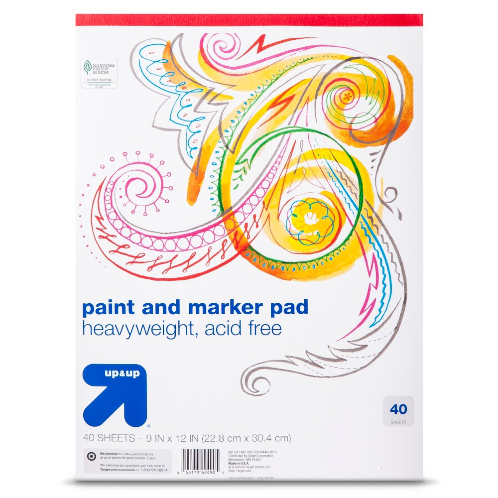 9x12 Paper Pad 40ct - Up&Up, Multi-Colored