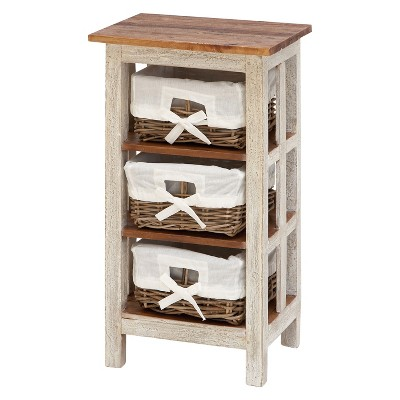 Wood Storage Cabinet 3 Drawer White - Olivia & May
