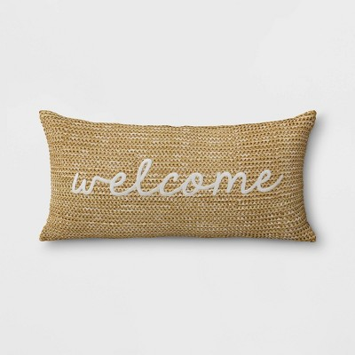 Welcome Woven Outdoor Lumbar Decorative Pillow Tan - Threshold™