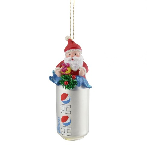 """Northlight 4.75"""" Diet Pepsi Can with Santa Topper """"Ho Ho"""" Glass Christmas Ornament - Silver - image 1 of 1"""