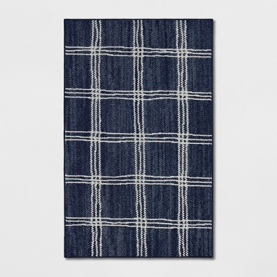 2'6 X4' Plaid Tufted Accent Rugs Navy - Threshold™