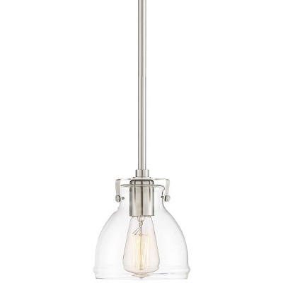 """Possini Euro Design Brushed Nickel Mini Pendant Light 6 1/2"""" Wide Modern Industrial Clear Glass for Kitchen Island Dining Room"""