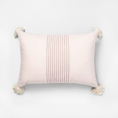 """14"""" x 20"""" Tassel Stripe Throw Pillow Dusty Pink / Rose Gold - Hearth & Hand™ with Magnolia"""