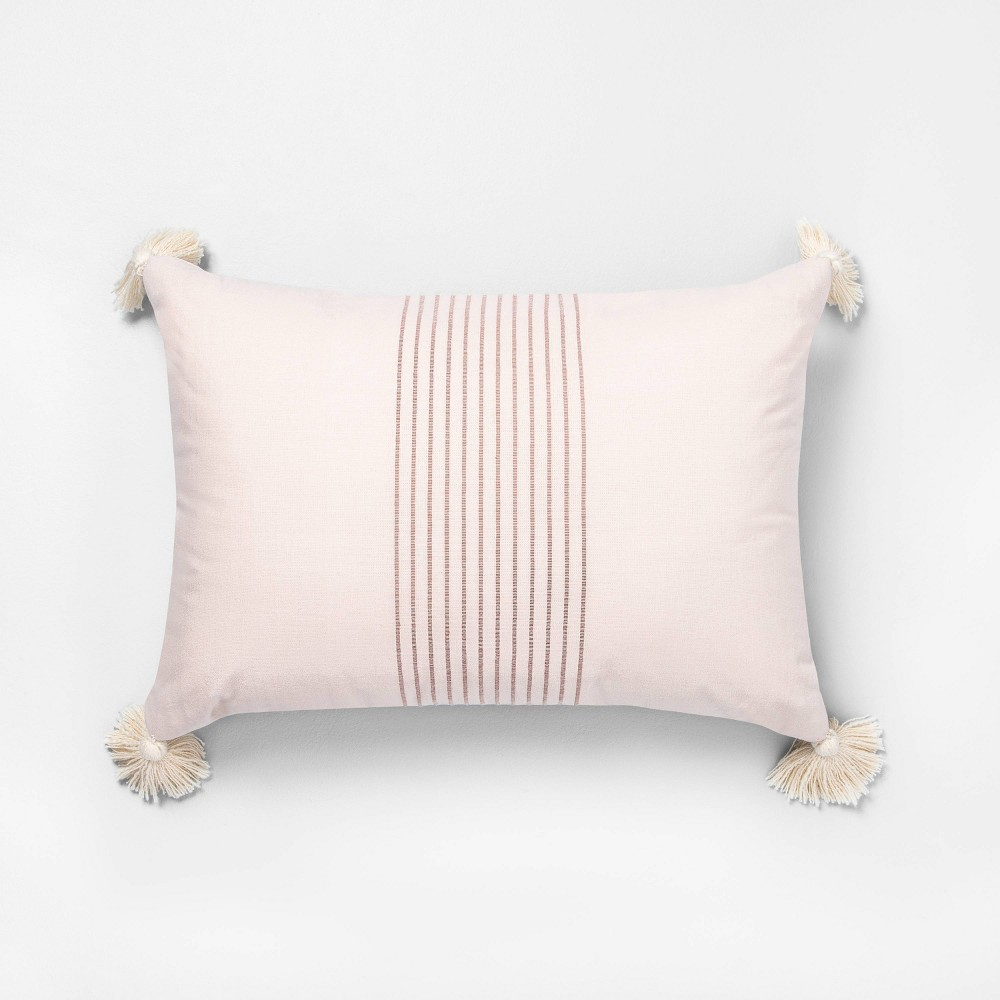 14 x 20 Tassel Stripe Throw Pillow Dusty Pink / Rose Gold - Hearth & Hand with Magnolia was $19.99 now $9.99 (50.0% off)