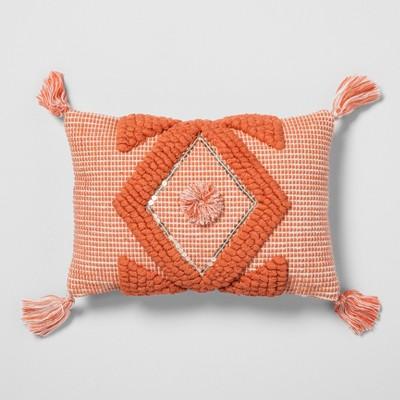 Coral Diamond Tassel Throw Pillow - Opalhouse™