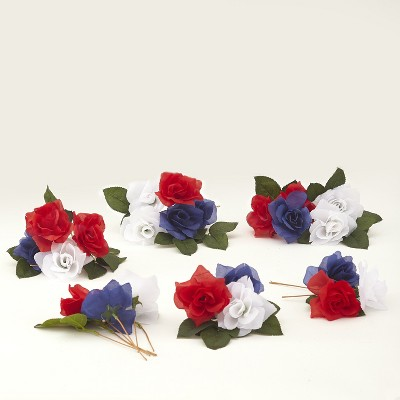 Lakeside Decorative Americana Faux Flowers Fill Set - Patriotic Floral Tabletop Accent