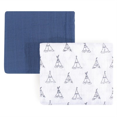 Yoga Sprout Unisex Baby Cotton Swaddle Blankets, Blue, One Size
