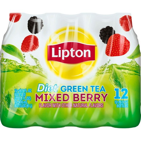 Lipton Diet Mixed Berry Green Tea - 12pk/16.9 fl oz Bottles - image 1 of 3