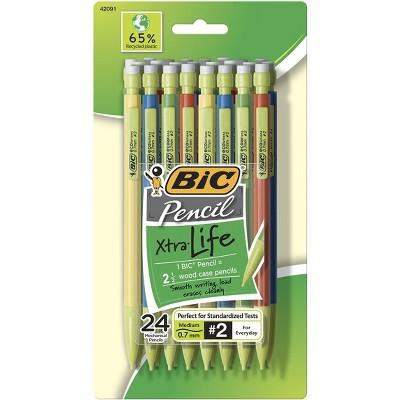BIC Eco Life Pencil, 0.7 mm Tip, Assorted Color Barrels, pk of 24