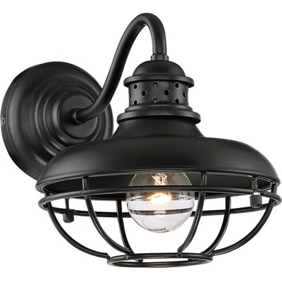 """Franklin Iron Works Farmhouse Vintage Outdoor Barn Light Fixture Black 9"""" Open Metal Cage for Exterior House Porch Patio Outside"""