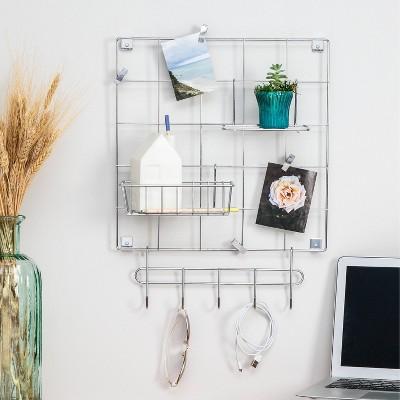 Honey-Can-Do 8pc Wall Grid Kit Chrome
