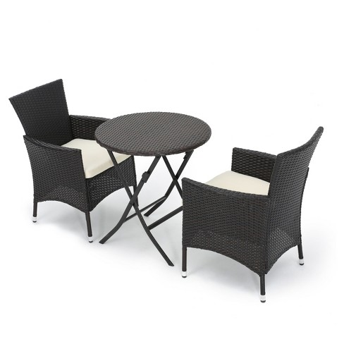 Malaga 3pc All-Weather Wicker Patio Bistro Set - Brown - Christopher Knight  Home : Target - Malaga 3pc All-Weather Wicker Patio Bistro Set - Brown - Christopher