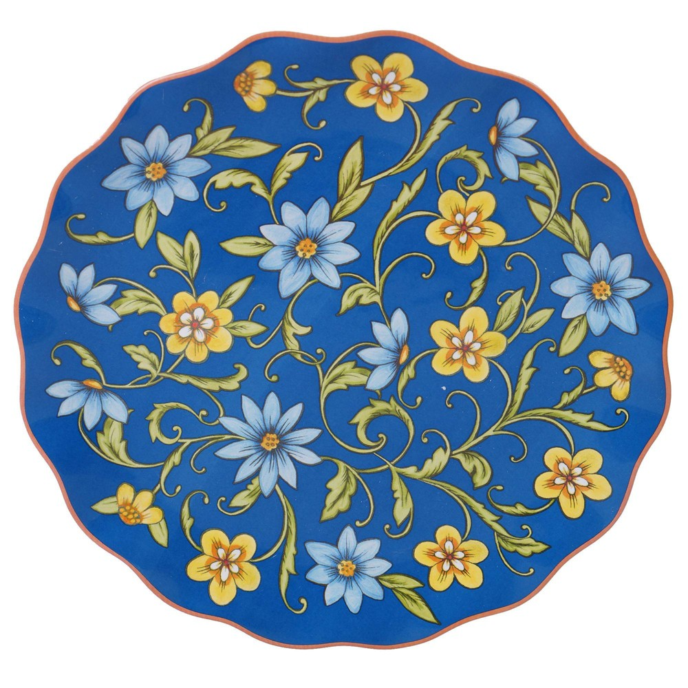 "Image of ""13"""" Earthenware Torino Round Serving Platter Blue - Certified International"""