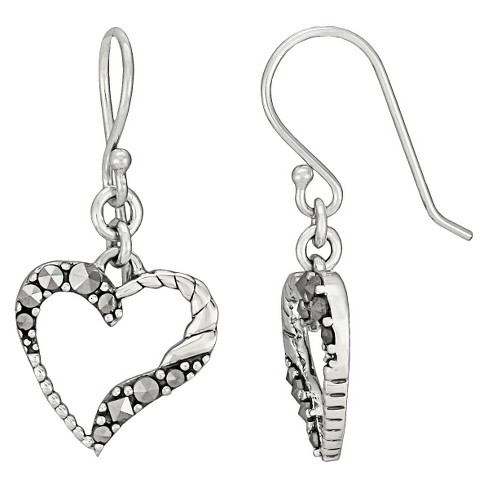 Marcasite Heart Earring - Silver - image 1 of 1