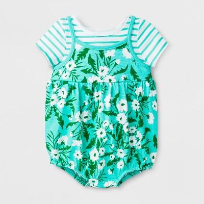 Baby Girls' Spaghetti Strap Tank Romper - Cat & Jack™ Green 0-3M