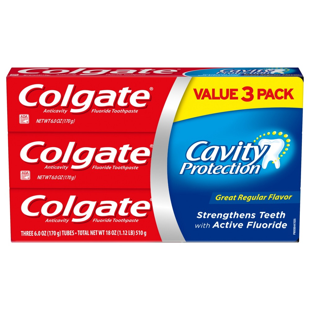 Image of Colgate Cavity Protection Toothpaste with Fluoride Great Regular Flavor - 6oz/3pk