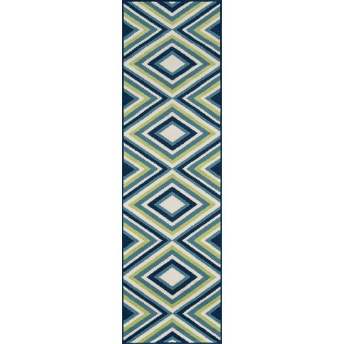"2'3""X8' Geometric Runner Blue/Yellow - Momeni - image 1 of 4"