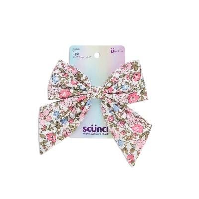 scunci Kids Bow Snap Clip - Pink Floral - 1pc