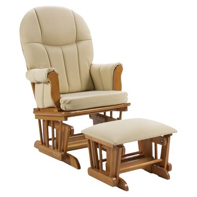 Shermag Danielle Deluxe Sleigh Style Rocker Glider and Ottoman Combo - Honey/Beige Cotton Twill