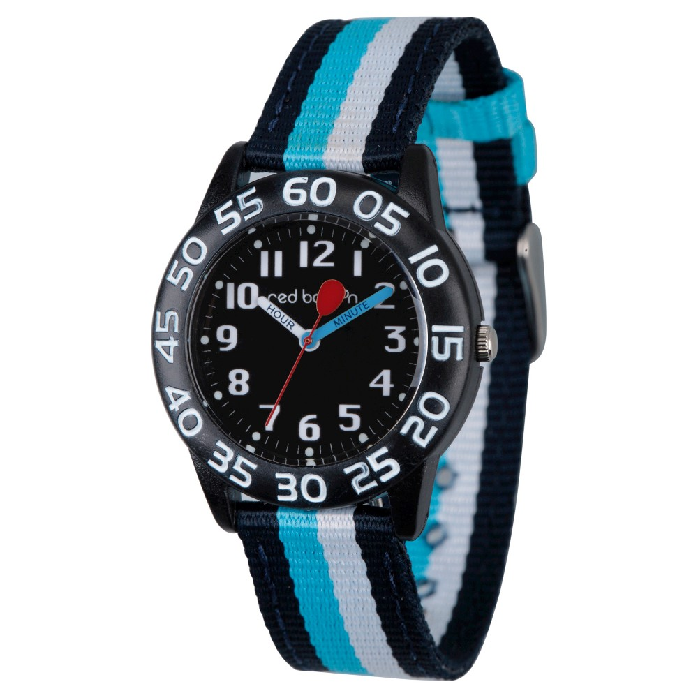 Image of Boys' Red Balloon Black Plastic Time Teacher Watch - Multi, Boy's, MultiColored