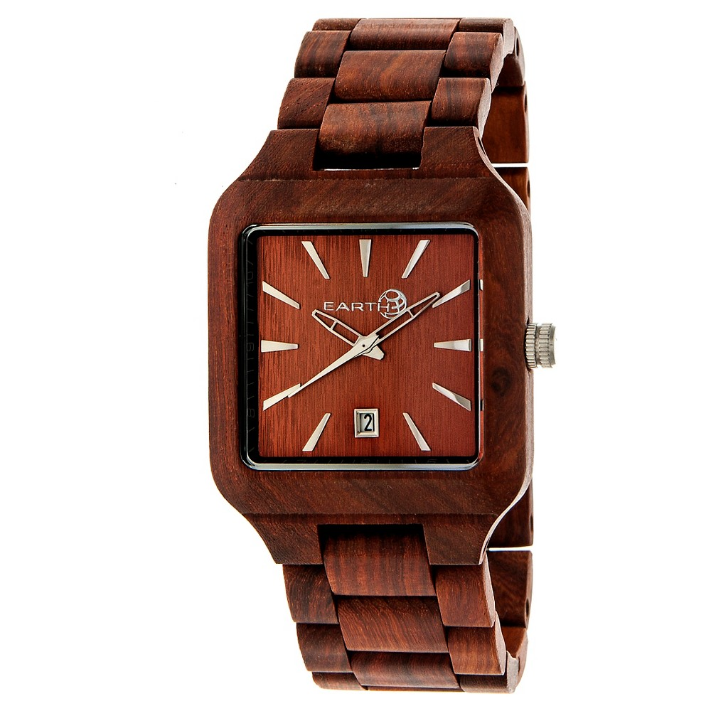 Image of Earth Wood Men's Arapaho Eco - Friendly Sustainable Wood Bracelet Watch - Red, Size: Small, Red Brown