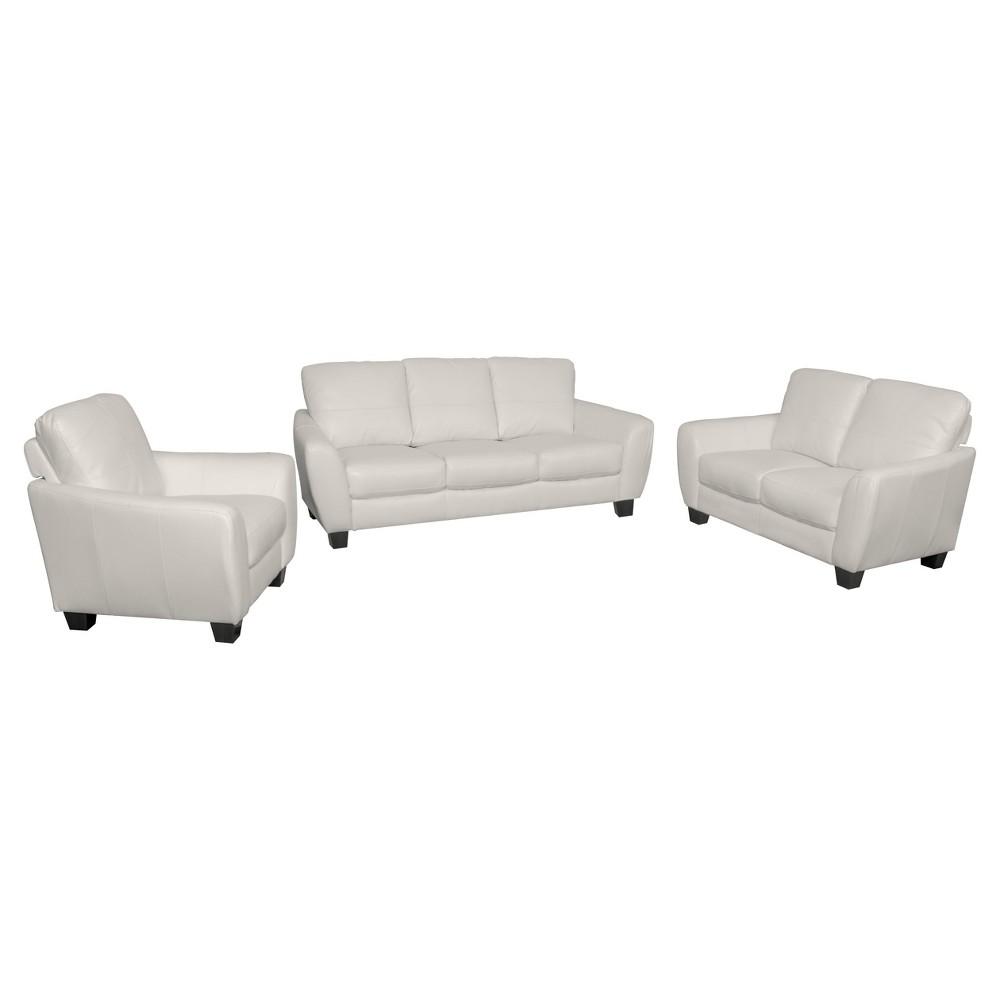 Jazz 3pc White Bonded Leather Sofa Set - Corliving