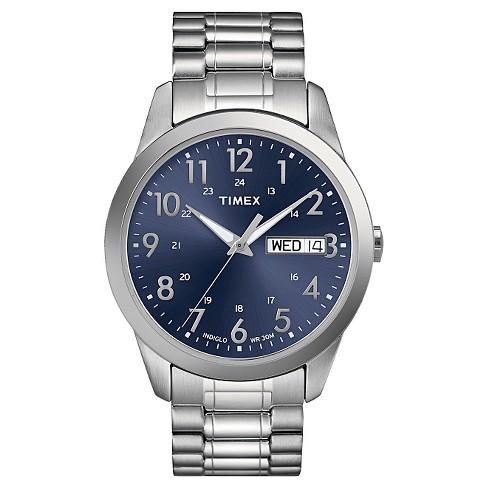 Men's Timex Expansion Band Watch - Silver/Blue T2M9339J - image 1 of 1