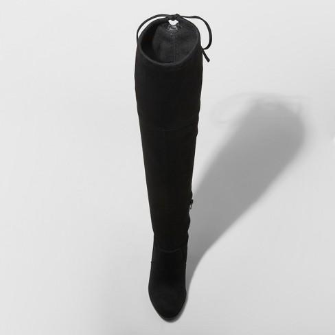 abda8ba8f6b Women s Nikka Wide Width Heeled Over the Knee Sock Boots - A New Day™ Black  8.5W   Target