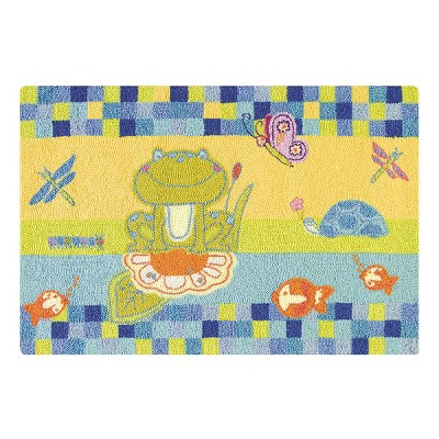 2'x3' Rectangle Indoor and Outdoor Butterfly Accent Rug Blue - C&F Home