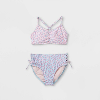 Girls' Leopard Print 2pc Bikini Set - art class™ Pink/Blue
