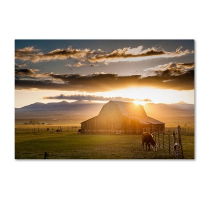 "30"" x 47"" Dan Ballard 'Wet Mountain Barn I' Unframed Wall Canvas - Trademark Fine Art"