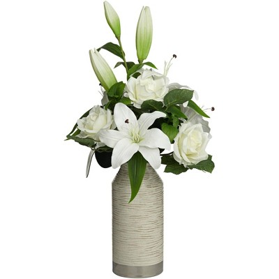 """Dahlia Studios White Rose and Lily 24"""" High Faux Flowers in Vase"""