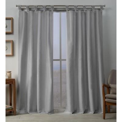 54 x96  Loha Linen Braided Tab Top Window Curtain Panel Pair Dove Light Gray - Exclusive Home