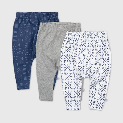 Honest Baby Boys' 3pk Compass Organic Cotton Cuff-Less Harem Pants - Navy 3-6M
