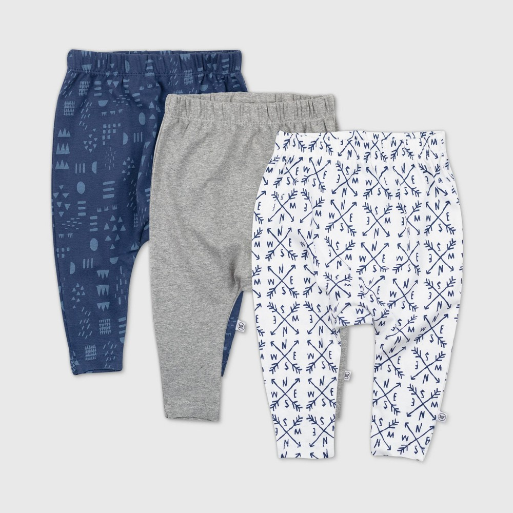 Honest Baby Boys 39 3pk Compass Organic Cotton Cuff Less Harem Pants Navy 3 6m