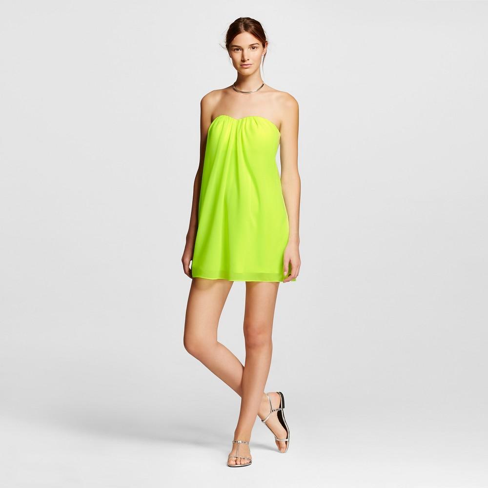 Women's Strapless Sweetheart Neckline Shift Dress Fluorescent Green XS - Renn