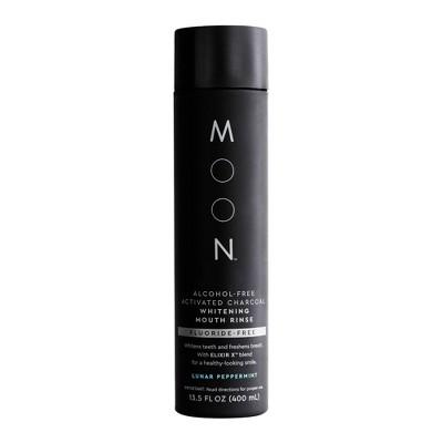 Moon Charcoal Whitening Fluoride-Free Vegan Paraben + SLS Free Lunar Peppermint Mouth Rinse - 400ml