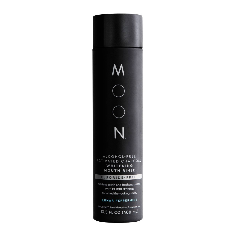 Image of Moon Charcoal Whitening Fluoride-Free Lunar Peppermint Mouth Rinse - 400ml