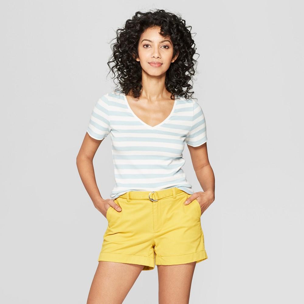 Women's Regular Fit Striped Short Sleeve V-Neck T-Shirt - A New Day White/Turquoise S