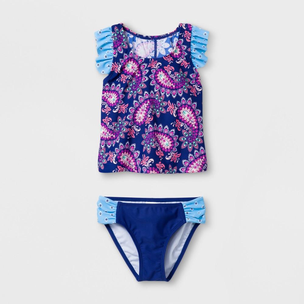 Malibu Dream Girl Girls' Paisley Fantasy 2pc Tankini Set - Blue 6X
