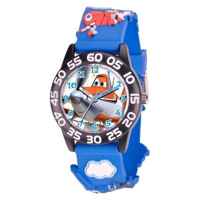 Boys' Disney Planes  Black Plastic Time Teacher with 3D Strap Watch - Blue