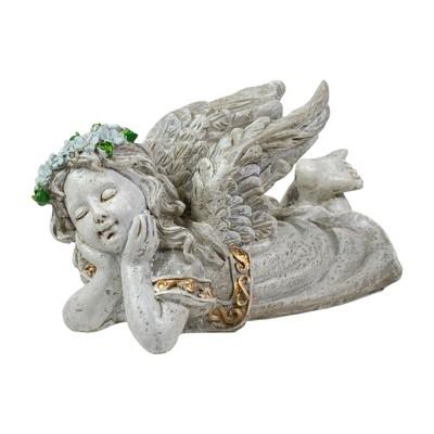 "Northlight 6"" Gray Daydreaming Cherub Angel Outdoor Patio Garden Statue"