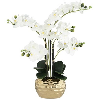 "Dahlia Studios White Phalaenopsis 23""H Faux Orchid in Gold Ceramic Pot"