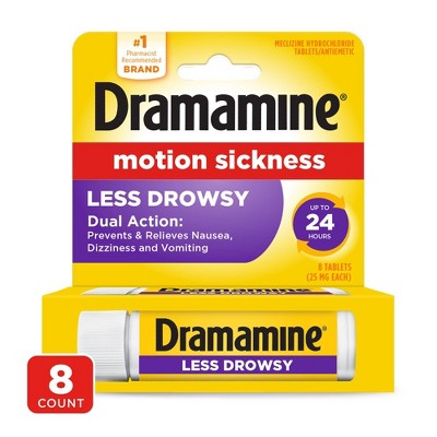 Dramamine Motion Sickness Less Drowsy Tablets - 8ct
