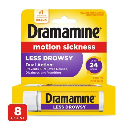Dramamine Motion Sickness Less Drowsy Tablets - 8ct - image 1 of 3